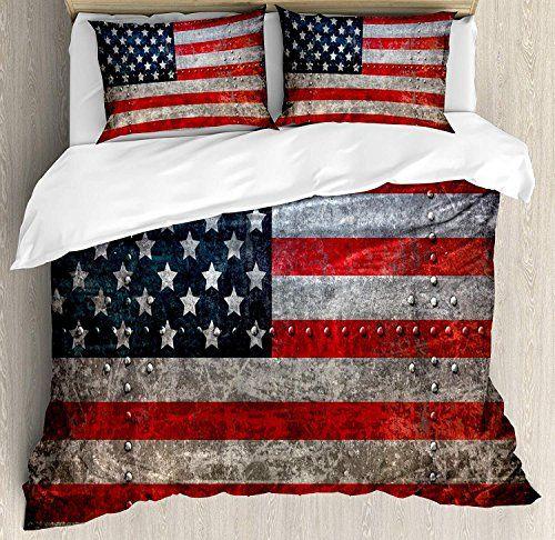 Charmhome American Flag Duvet Cover Set Bedroom Decorative Soft 4 Piece Bedding Set Quilt Case 2 Pillow Ca Duvet Cover Sets Decorative Duvet Cover Duvet Covers