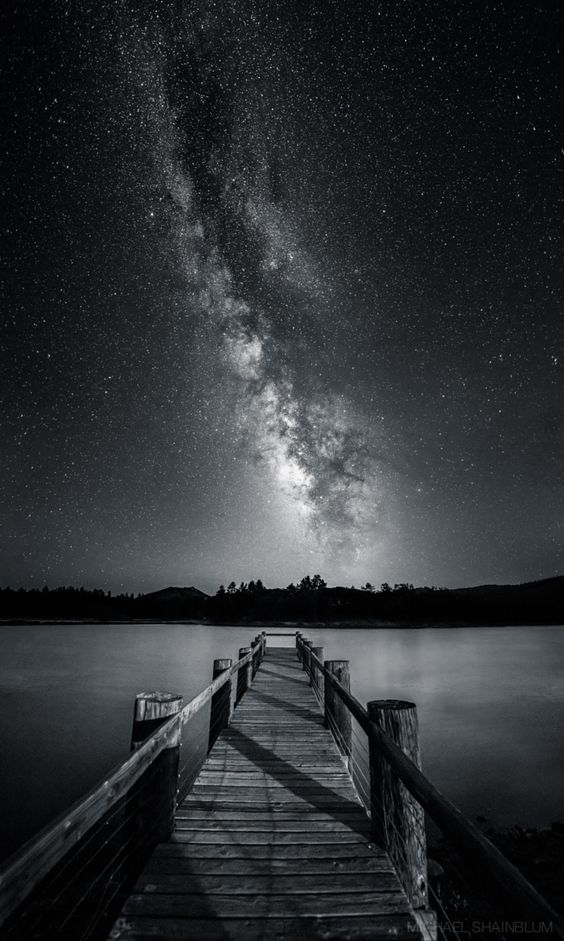 "Serenity In Monochrome by Michael Shainblum on 500px ""A black and white vertical panorama of Lake Cuyamacain eastern San Diego. The Milky Way was blazing over head."""