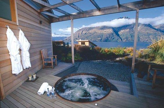 Spa with a view, Matakauri Lodge, Queenstown New Zealand #honeymoon #weddingdestination