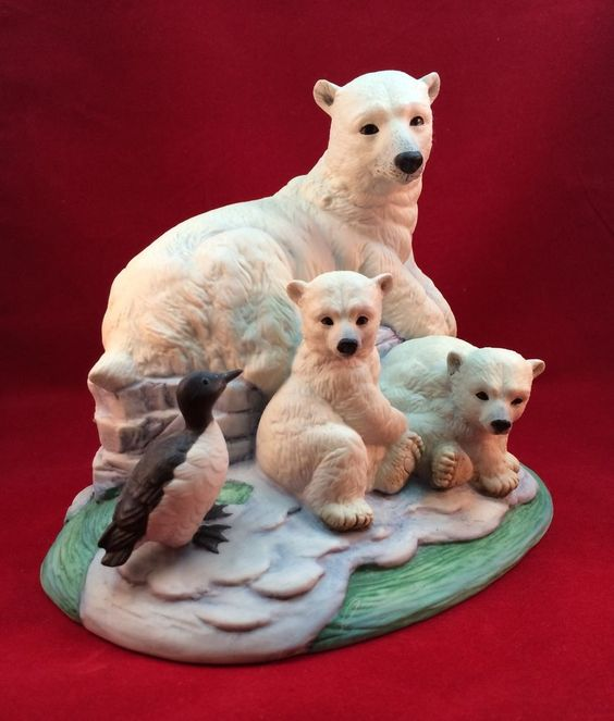 Andrea By Sadek Limited Edition Polar Bears with Thick Billed Murre Figurine