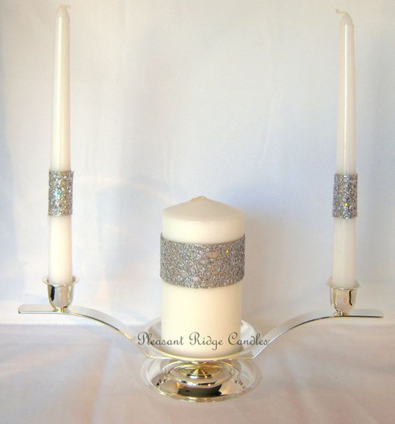 Bling Unity Candle Set Sliver Gray Wedding Silver Ribbon on Etsy, $35.00