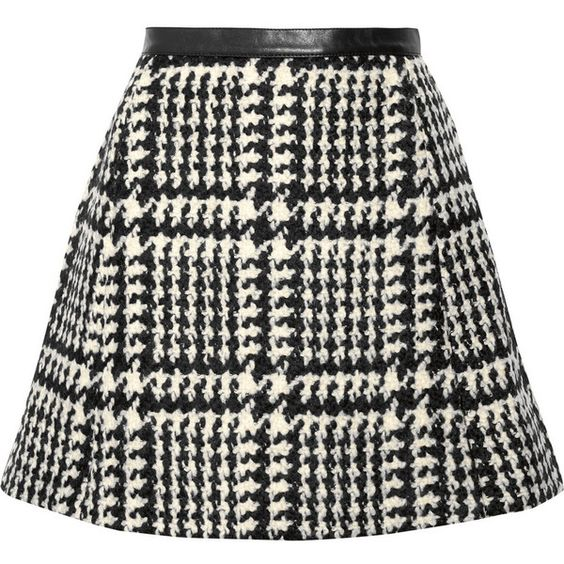 Jill Stuart Crystal leather-trimmed wool-blend bouclé-tweed mini skirt ($226) ❤ liked on Polyvore featuring skirts, mini skirts, bottoms, saias, faldas, black, short black skirt, black tweed skirt, tweed mini skirt and mini skirt: