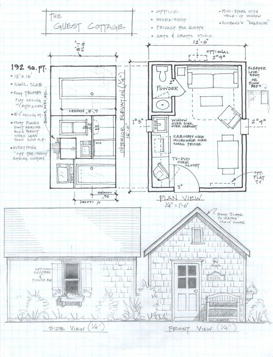 192 sq ft studio cottage small house floor plans