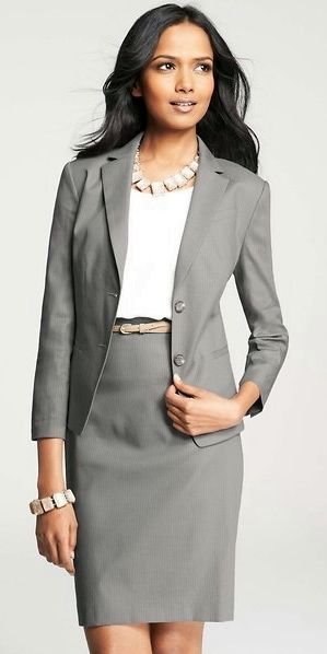 Another classic gray skirt suit. Why should women be the only ones ...