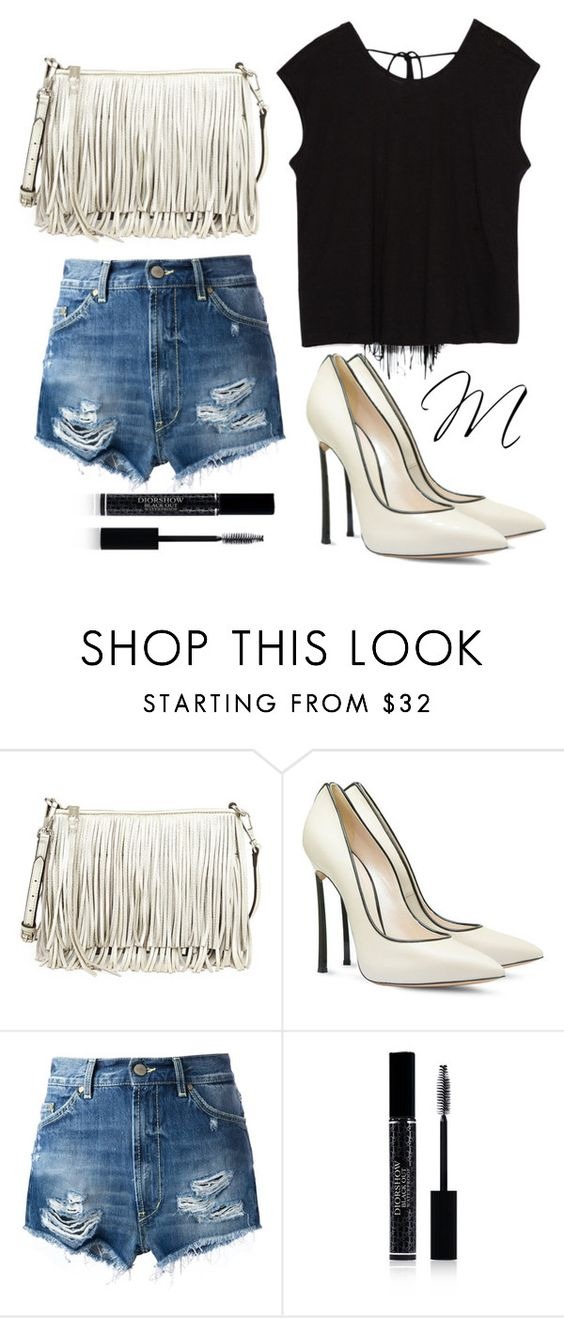 """fringed(:"" by moria801 ❤ liked on Polyvore featuring Rebecca Minkoff, Casadei, Dondup, Christian Dior and Zara"