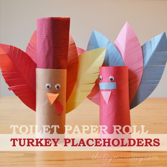 Toilet paper roll turkey placeholder a kid 39 s for Toilet paper roll crafts thanksgiving
