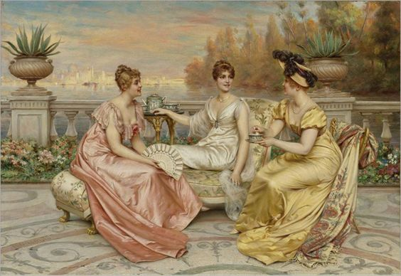 Frédéric Soulacroix (French, 1858-1933)-Tea on the Terrace