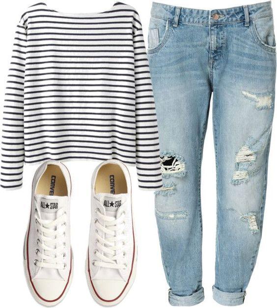 Wood Wood longsleeve shirt / Zara boyfriend jeans / Converse s, $70