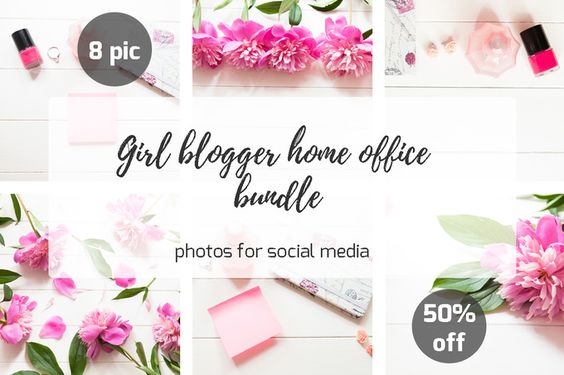 Girl blogger home office bundle by Marine Girl on @creativemarket