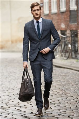 Buy Blue Check Skinny Fit Suit: Jacket from the Next UK online