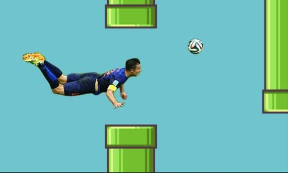 Pin for Later: These World Cup Memes Win Everything  Hey look, Robin van Persie (aka the Flying Dutchman) meets Flappy Bird.  Source: Twitter user doglab