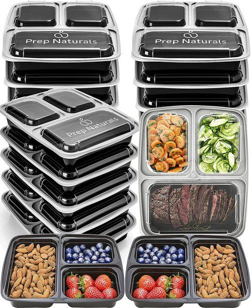 10 Pack 3 Compartment Food Container With Lids For Portion Control