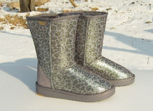 Womens Winter Fur Boots Leopard Sparkles