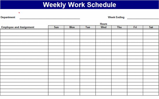 Weekly work schedule Templates Free Download Work Pinterest - work schedule