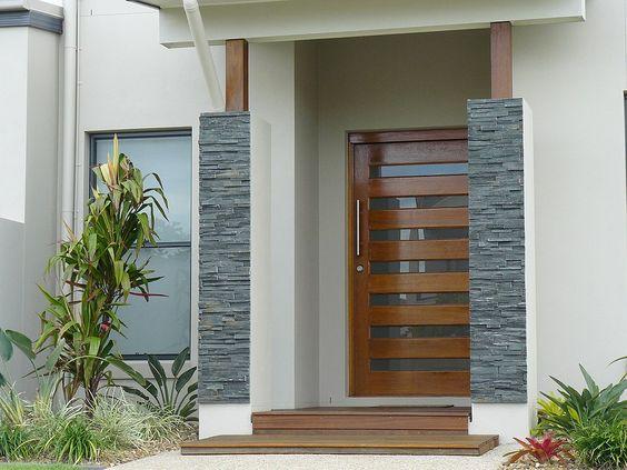 797 fachadas de casas modernas minimalistas y coloniales - Puertas de casa ...