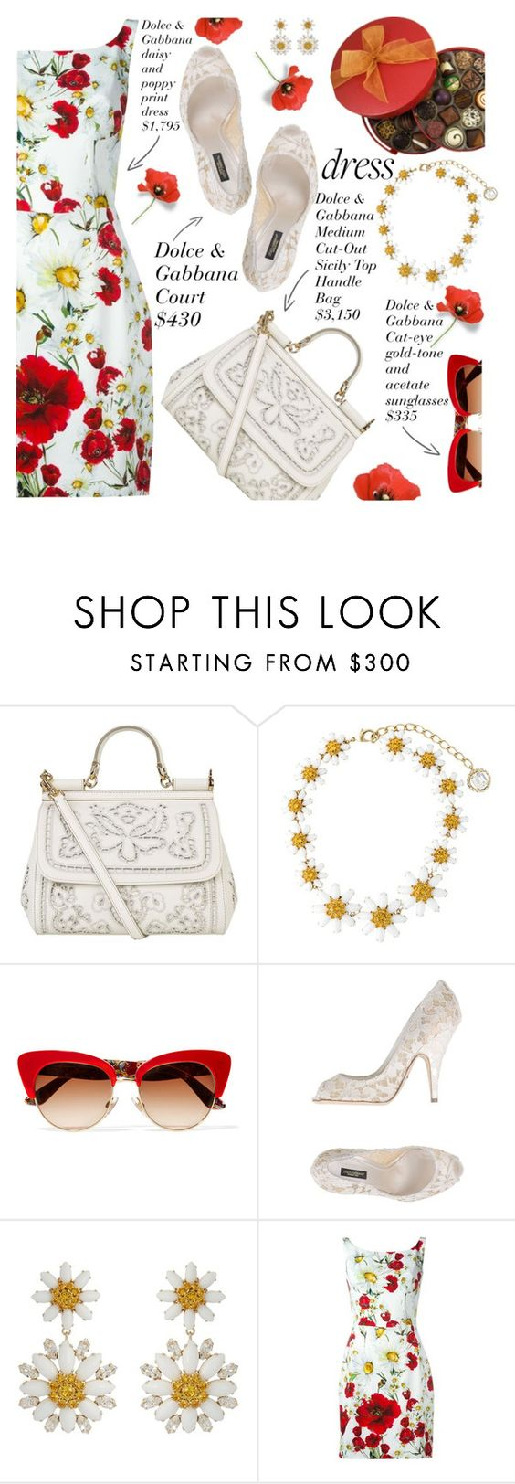 """""""spring dress"""" by shoalehnia ❤ liked on Polyvore featuring Dolce&Gabbana"""