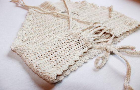 Crochet ecru bikini bohochic halter top by MakesCraftsNotWar