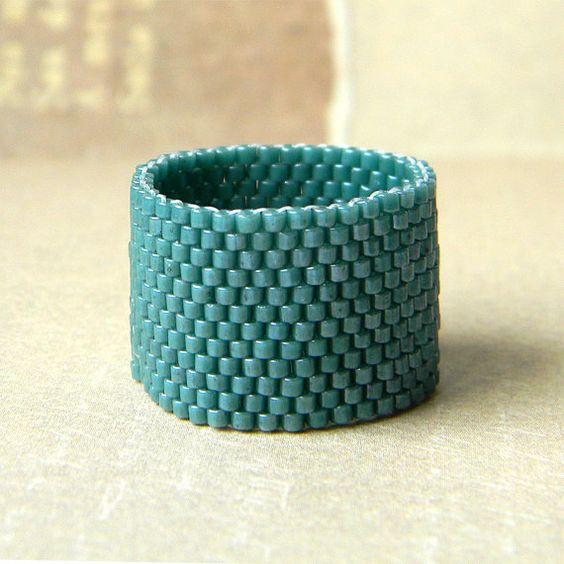Breiten Ring, minimalistischen Band Ring, einfache Ring, minimalistischen Schmuck, Perlen Ring, Peyote Ring, Perlenarbeiten, Saatgut Closure Ring, Anweisung Ring, Space Gear