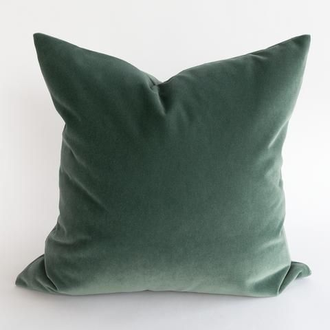 Valentina Velvet Jade Sage Grey Green Pillow With Blue Undertones Velvet Pillows Green Velvet Pillow Green Pillows