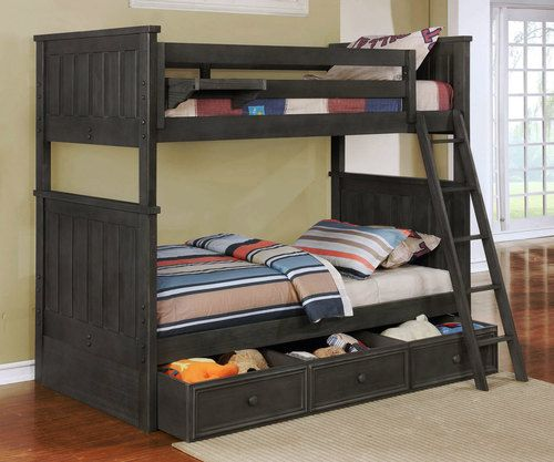 Allen House Brandon Twin Over Full Bunk Bed With Stairs Weathered