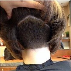 Square back inverted bob nape undercut.