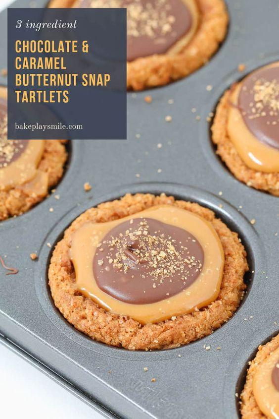 3 ingredient Chocolate & Caramel Butternut Snap Tartlets