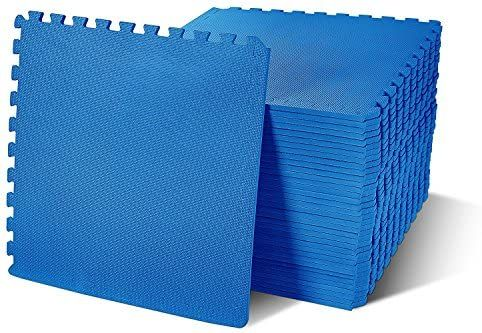 Amazon Com Balancefrom Puzzle Exercise Mat With Eva Foam Interlocking Tiles Blue 144 Sq Ft Pack Of 36 In 2020 Interlocking Tile Interlocking Flooring Foam Mats