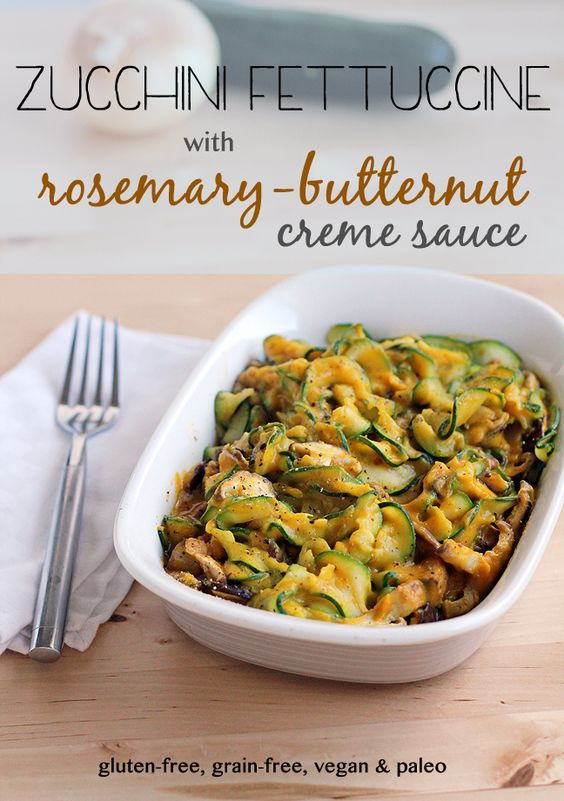 This will satisfy your pasta craving! Zucchini Fettuccine w/ Rosemary Butternut Creme Sauce. #GlutenFree #GrainFree #Vegan #Paleo