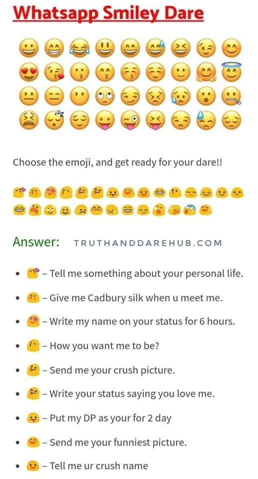 Funny Dare For Whatsapp : funny, whatsapp, WhatsApp, Smiley, Truth, Dare,, Questions,, Questions