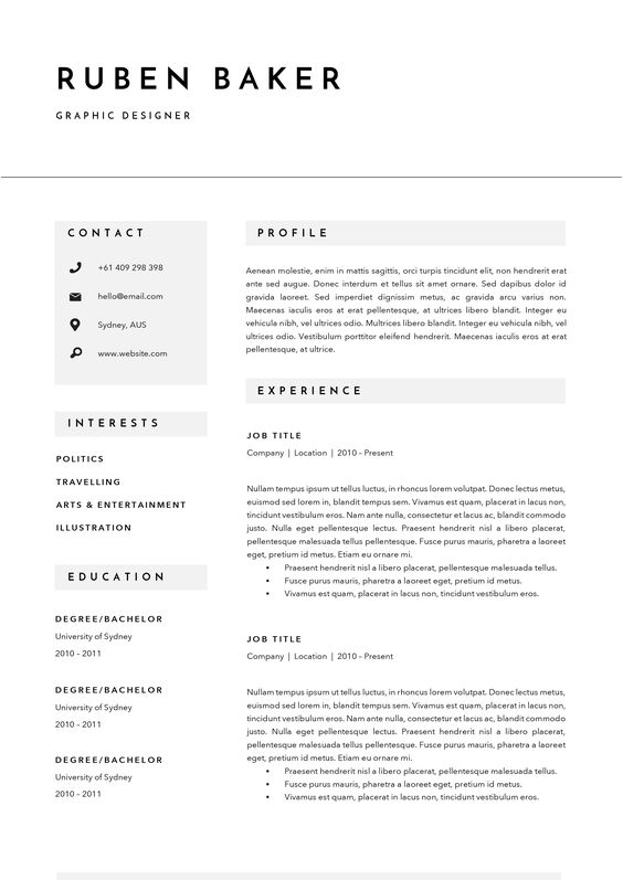 2 Resume Templates Instant Download Microsoft Word Cover - entertainment resume template