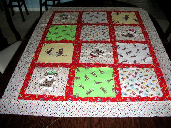 Appliqued Sock Monkey Quilt Kit by StitchesandSparkles on Etsy, $60.00