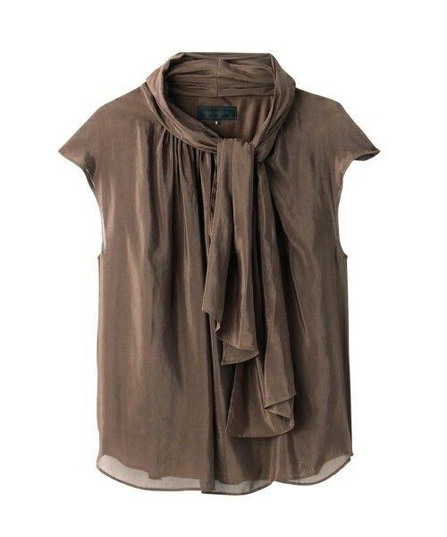 UNTITLED(アンタイトル)のボウタイシフォンシャツ(シャツ/ブラウス) ブラウン