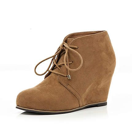 Brown lace up wedge ankle boots - wedges - shoes / boots - women ...