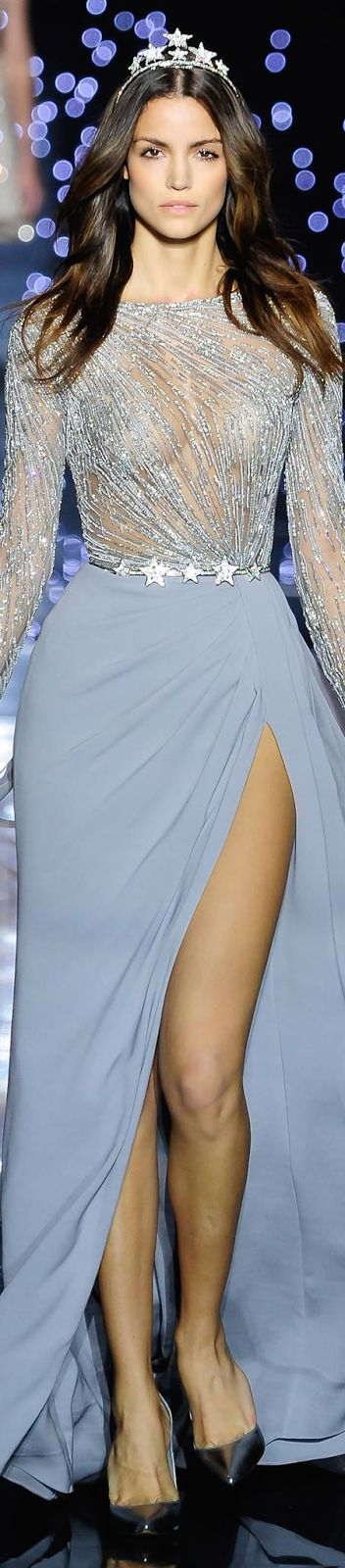 Zuhair Murad ~ Sheer Silvery Blue Gown w deep from slit Fall 2015