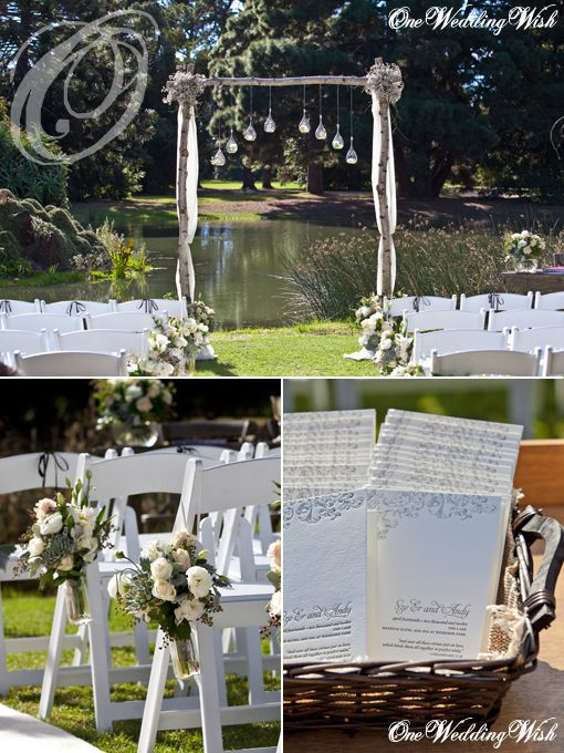Custom-designed bridal arch by the lakeside ~ gorgeous!
