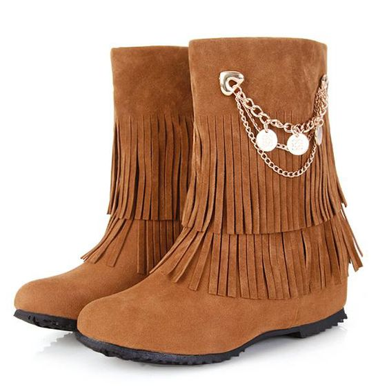 Spring Autumn Round Toe Tassels Embellished Wedge Mid Heel Yellow Slip On Leather Short Riding Boots