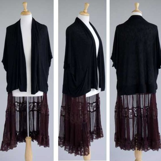 Women's clothing repurposed black shrug w lace by redeuxclothing