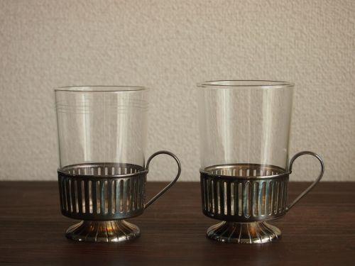 北欧アンティーク食器台つきグラス