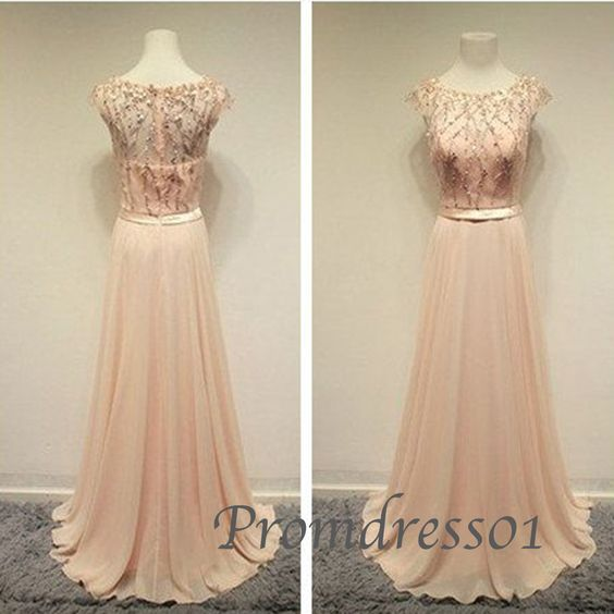 2015 elegant pink chiffon modest floor-length mermaid prom dress, ball gown, homecoming dress, cute dress for teens #promdress #coniefox #2016prom