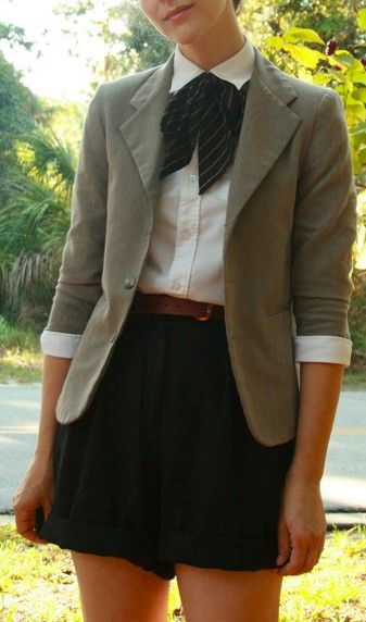 cute way to wear a blazer, to make it less preppy I would switch the scarf for some long necklaces,