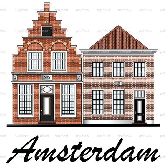 Classic low-rise canal houses from Amsterdam, Netherlands