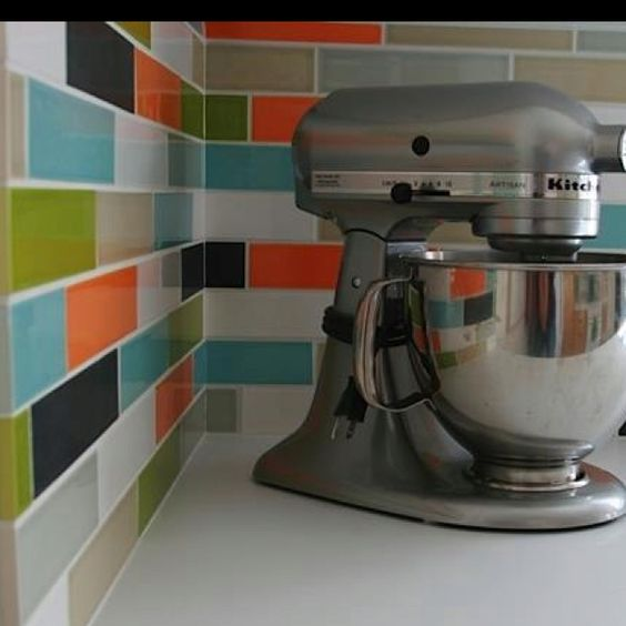 Colorful #ceramic 2x8 #subway #tile handmade in the USA.  www.modwalls.com