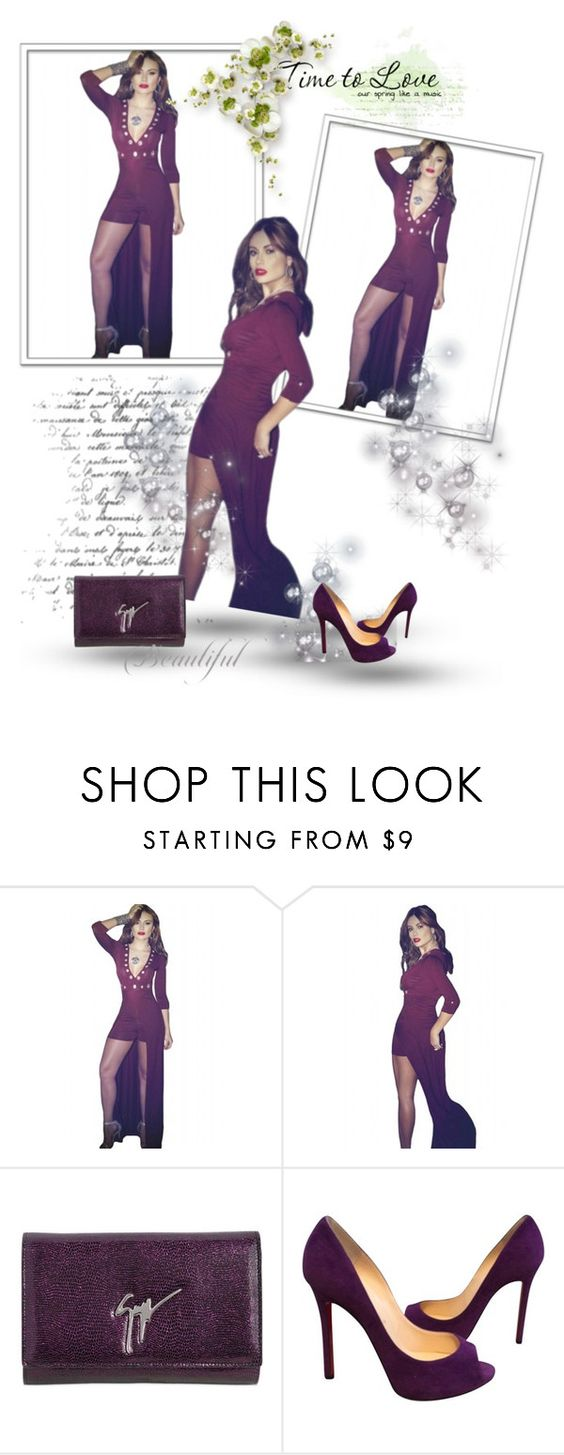 """""""Drop-Shipping Burgundy Grommet V Neck Sleeved Romper Maxi Dress"""" by chenzoe ❤ liked on Polyvore featuring Giuseppe Zanotti and Christian Louboutin"""