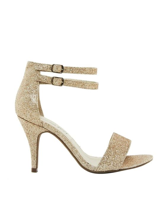 New Look | New Look Wide Fit Splat 2 Gold Single Sole Heeled Sandals at ASOS