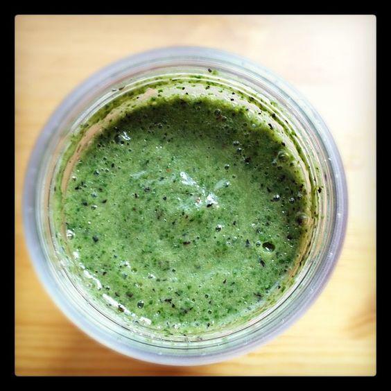 My new homemade green monster juice: kale, celery, blueberries, banana, almond milk, and cayenne pepper.