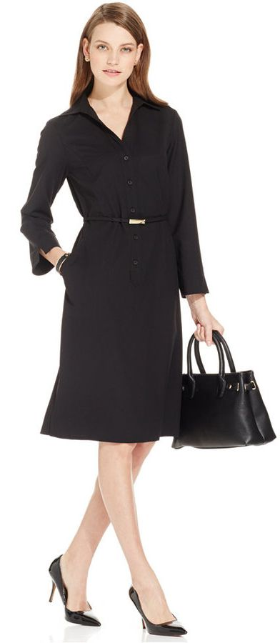 Jones New York Collection Button-Front Belted Shirt Dress WAS $119 NOW $104.99