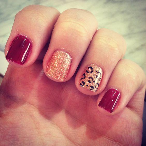 #red #gold #cheetah #nailart