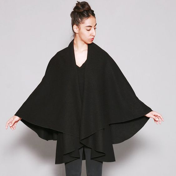 Black Cape Jacket Wool Cape Black wrap jacket Cape Coat Wool