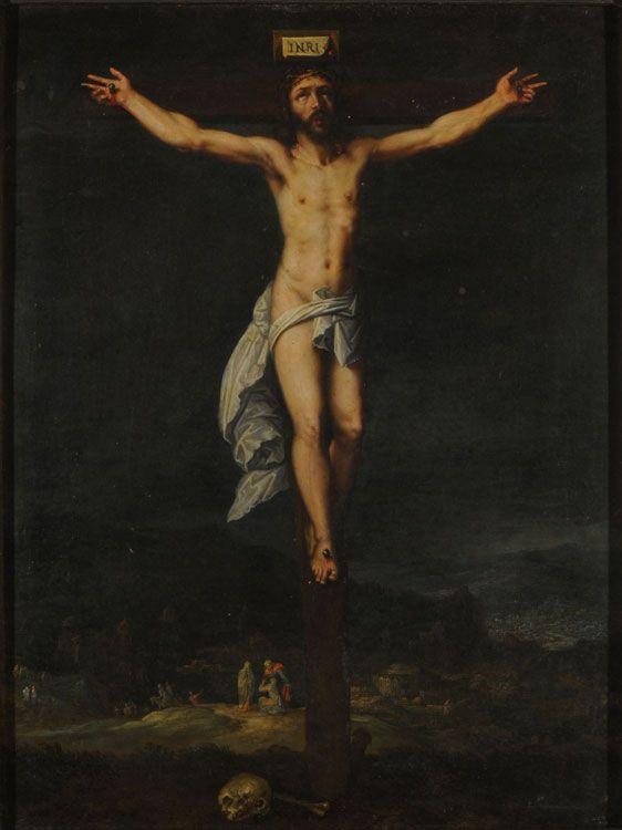 Cristo en la Cruz Autor: Otto Van Veen SXVI Técnica: Óleo Objeto: Pintura  Estilo: Renacimiento Medidas 28 x 22 Cm