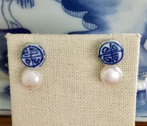 Ceramic Chinoiserie Stud post with a freshwater pearl
